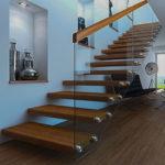 лестница со стеклянными ограждением